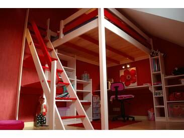 Lit Mezzanine Sylvia avec escalier de meunier bois 120x200cm Blanc/Rouge