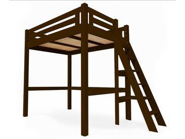 Lit Mezzanine Alpage bois + échelle hauteur réglable 160x200cm Wengé