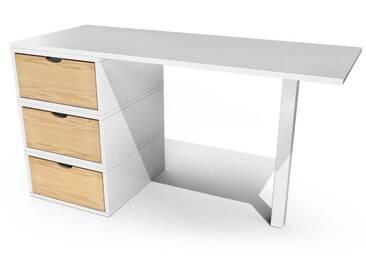 Bureau Cube 3 tiroirs  Blanc/Miel