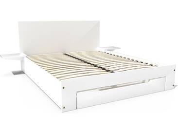 Lit Happy + tiroirs + chevets amovibles - 2 places 160x200cm Blanc