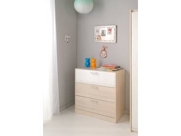 Commode 3 tiroirs Charly Acacia clair/blanc Basika