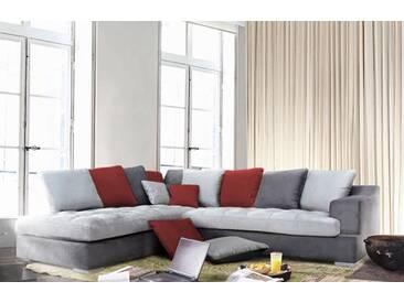 Canapé dangle à gauche Majorca Gris foncé/gris perlé/rouge Basika