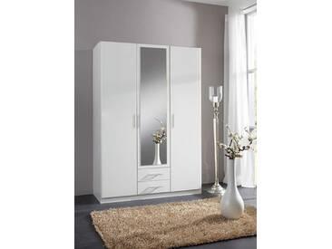 Armoire 3 portes dont 1 miroir 2 tiroirs Spectral Blanc Basika