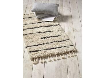 Tapis berbère en laine tissée écru/noir