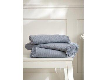 Serviette de toilette nid d'abeille bleu