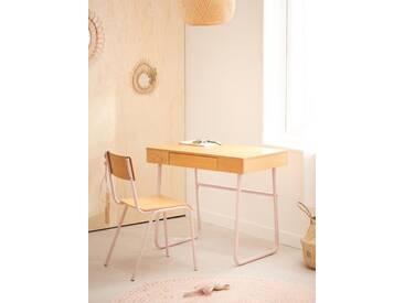Bureau en métal et bois naturel/rose