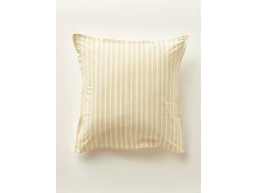 Taie doreiller en voile de coton Petits Motifs blanc/ocre