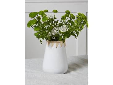Vase céramique et raphia Chabi Chic blanc