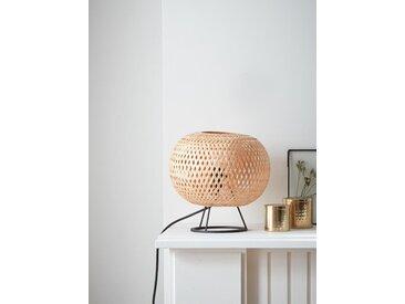 Lampe globe en bambou naturel/noir