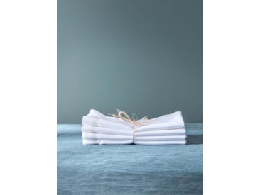 Serviette de table anti-taches aspect lin par lot de 4 blanc