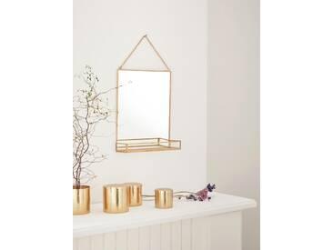 Miroir étagère en métal doré