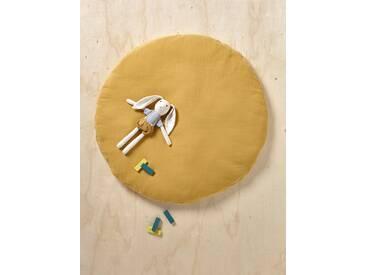 Coussin de sol en coton gaufré moutarde