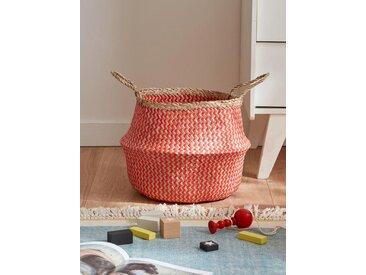 Panier boule tressé zigzag diam. 37 cm naturel/rouge