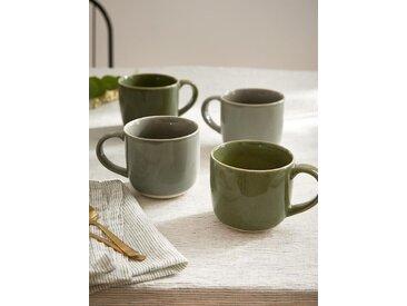 Tasse en céramique par lot de 4 2 kaki + 2 gris