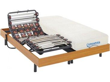 Ensemble relaxation lattes et plots mémoire forme DIONYSOS de DREAMEA - moteurs OKIN - merisier -  2x80x200cm