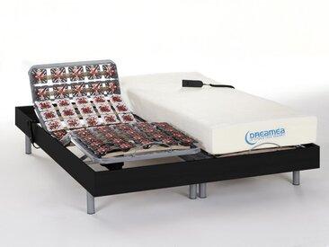Ensemble relaxation tout plots mémoire de forme HESIODE III de DREAMEA - moteurs OKIN - noir - 2x80x200cm