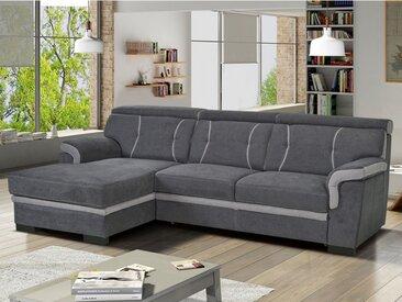 Canapé d'angle convertible en tissu JAMES - Anthracite et bandes gris clair - Angle gauche