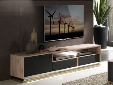 Meuble TV INTUITION - LEDs - 1 porte & 2 tiroirs - Anthracite & Chêne