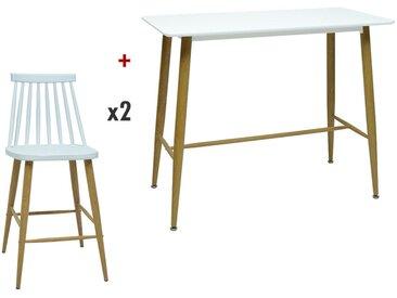 Pack salle à manger: Ensemble table haute + 2 tabourets DAGMAR - Blanc