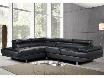 Canapé d'angle en cuir DUNCAN - Noir - Angle gauche