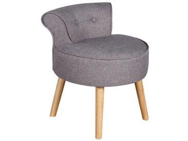 Petit fauteuil crapaud SAVEA en tissu - Gris chiné