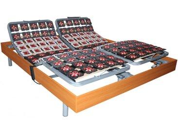 Sommier de relaxation 2x65 plots déco bois merisier de DREAMEA - 2x80x200cm  - moteurs OKIN