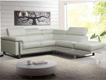 Canapé d'angle en cuir MYSTIQUE - Blanc - Angle droit