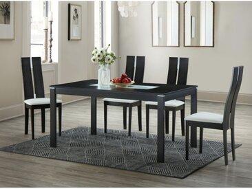 Ensemble table MAELIA + 4 chaises SALENA - Hêtre massif - Wengé
