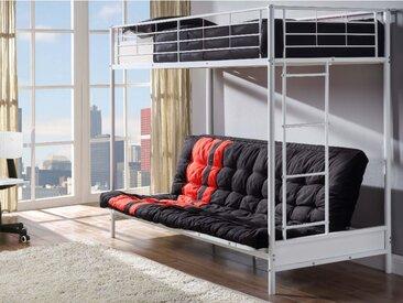 Pack MODULO IV - Lit mezzanine blanc  avec banquette convertible 90x190cm et son futon noir et rouge 135x190cm
