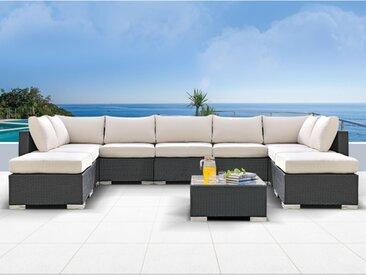 Salon de jardin ALANDA en résine tressée: canapé panoramique 7 places, 2 poufs et une table basse - Noir