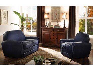 Canapé et fauteuil club 100% cuir BAUDOIN - Bleu nuit