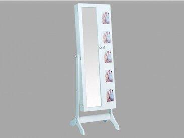 Armoire à bijoux avec miroir et porte-photos POLINA - H.142 cm
