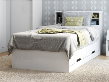 Lit BORIS avec tiroirs et rangements - blanc - 90x190cm