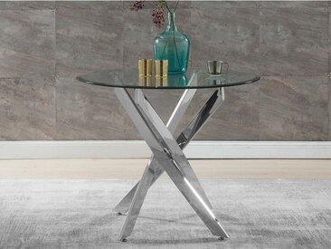Table à manger COSIMA - 4 couverts - Verre trempé & Métal chromé