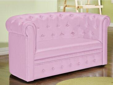 Canapé pour enfant Chesterfield en simili TIANA - Rose