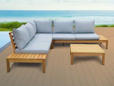 Salon de jardin ESTELI en bois d'eucalyptus - un canapé d'angle et une table basse - assise bleue