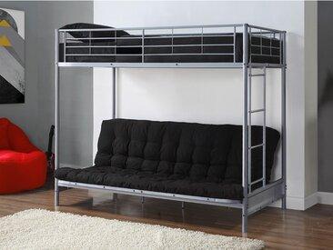Pack MODULO IV - Lit mezzanine argent  avec banquette convertible 90x190cm et son futon noir 135x190cm