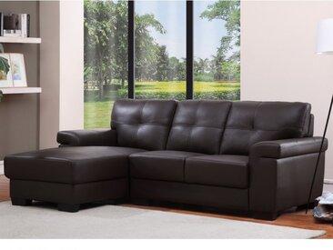 Canapé d'angle en cuir HAZEL - Chocolat - Angle gauche