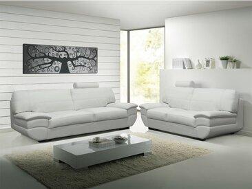 Canapé 3+2 places cuir CALIFORNIA II - blanc