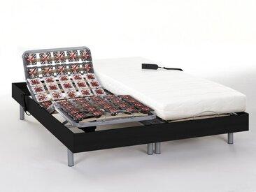Ensemble relaxation tout plots mémoire de forme PERSEE de DREAMEA - moteurs OKIN - noir - 2x80x200cm