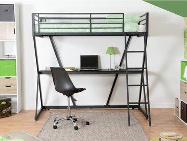 Lit mezzanine JOACHIM - couchage 90x190cm - bureau intégré - Noir mat