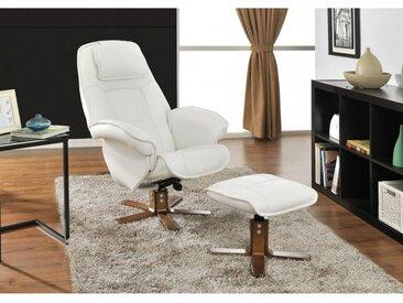 Fauteuil de relaxation et son repose pieds ETERNITY - Blanc ivoire