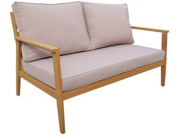 Canapé 2 places de jardin AMARIA en bois d'eucalyptus - Assise taupe