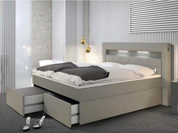 Ensemble boxspring complet tête de lit avec Leds + sommier avec tiroirs + matelas + surmatelas BARI - 160x200cm - simili gris
