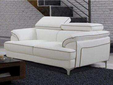 Canapé 2 places en simili VOLTAIRE - Blanc passepoil gris