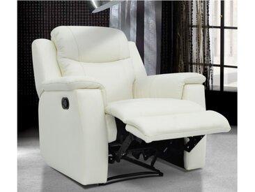 Fauteuil relax EVASION en cuir - blanc ivoire