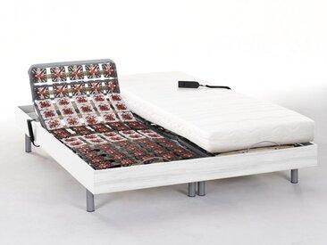 Ensemble relaxation tout plots mémoire de forme PERSEE de DREAMEA - moteurs OKIN - blanc - 2x80x200cm