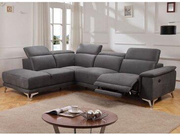 Canapé d'angle relax électrique en tissu BENY - Gris - Angle gauche