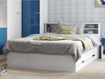 Lit BORIS avec tiroirs et rangements - blanc - 140x190cm
