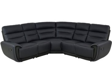Canapé angle relax COSMY en cuir et détails microfibre - Noir